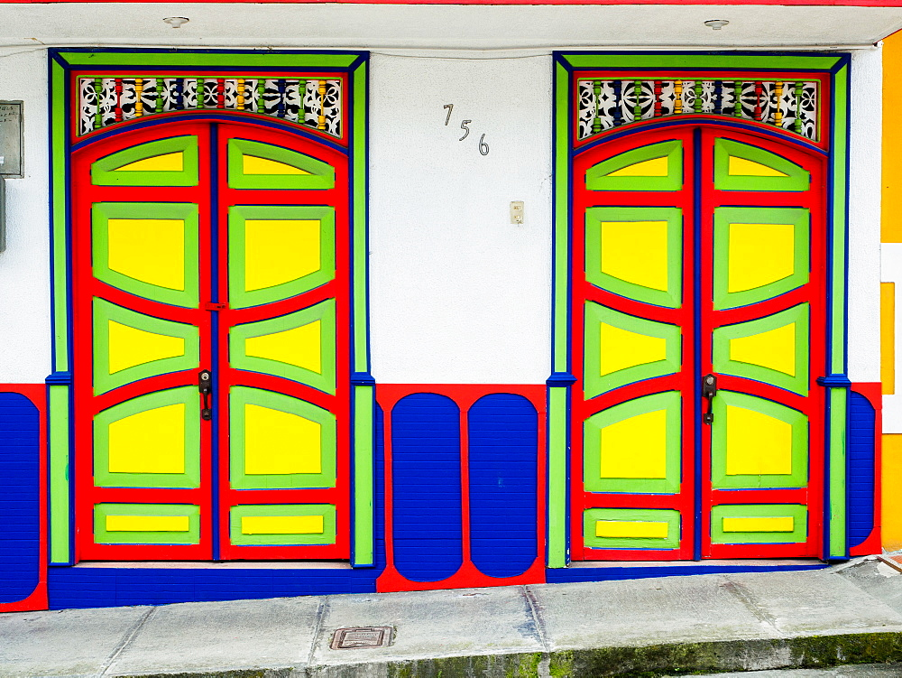Colorful doors, Filandia, Coffee Region, Colombia, South America