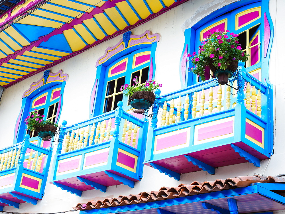 Colorful balconies, Filandia, Colombia, South America