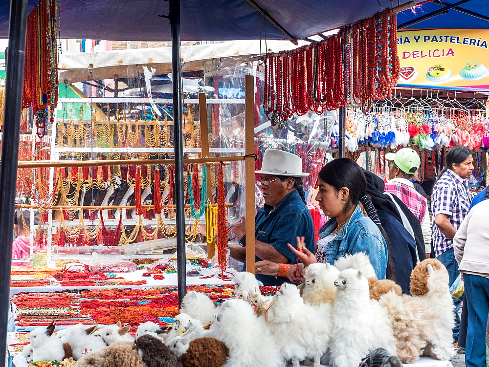 Goods for sale, market, Plaza de los Ponchos, Otavalo, Ecuador, South America