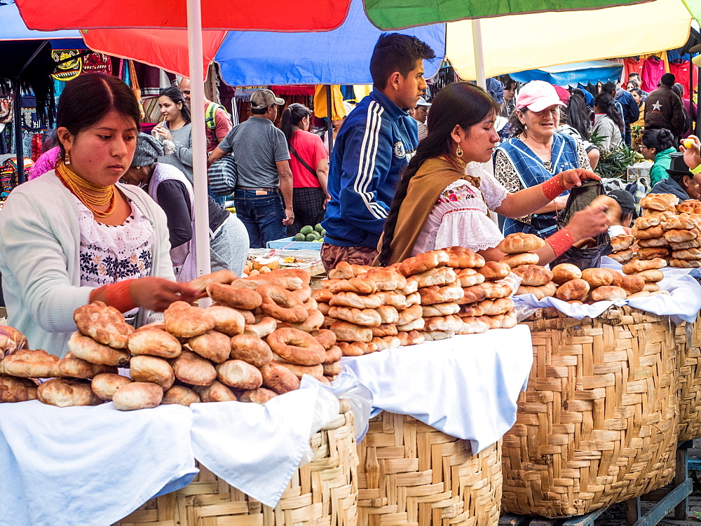 Bread for sale, market, Plaza de los Ponchos, Otavalo, Ecuador, South America