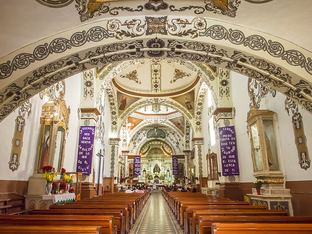 Painted interior of Santo Domingo church in the town of Ocotlan de Morelos, State of Oaxaca, Mexico, North America