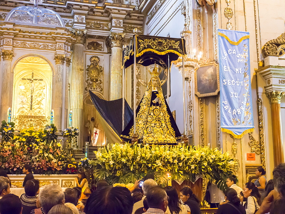 Crowds gather to honor the image of Oaxaca's patron, Fiesta de la Virgen de la Soledad, Basilica of Our Lady of Solitude, Oaxaca, Mexico, North America