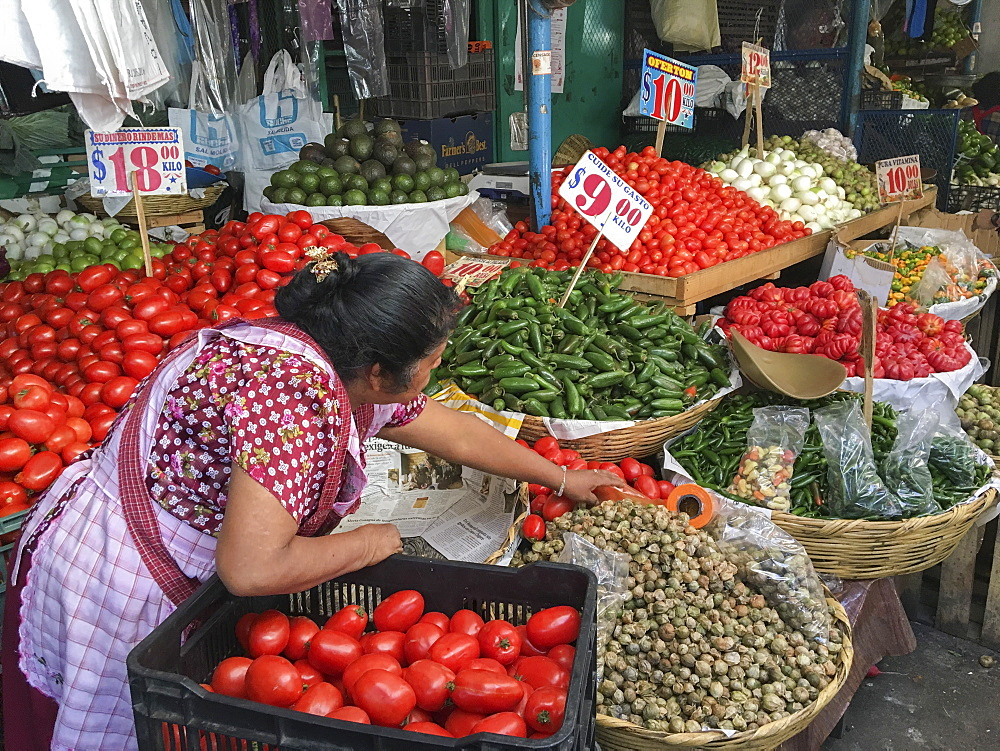 Woman selling produce at a traditional market, Oaxaca, Mexico, North America