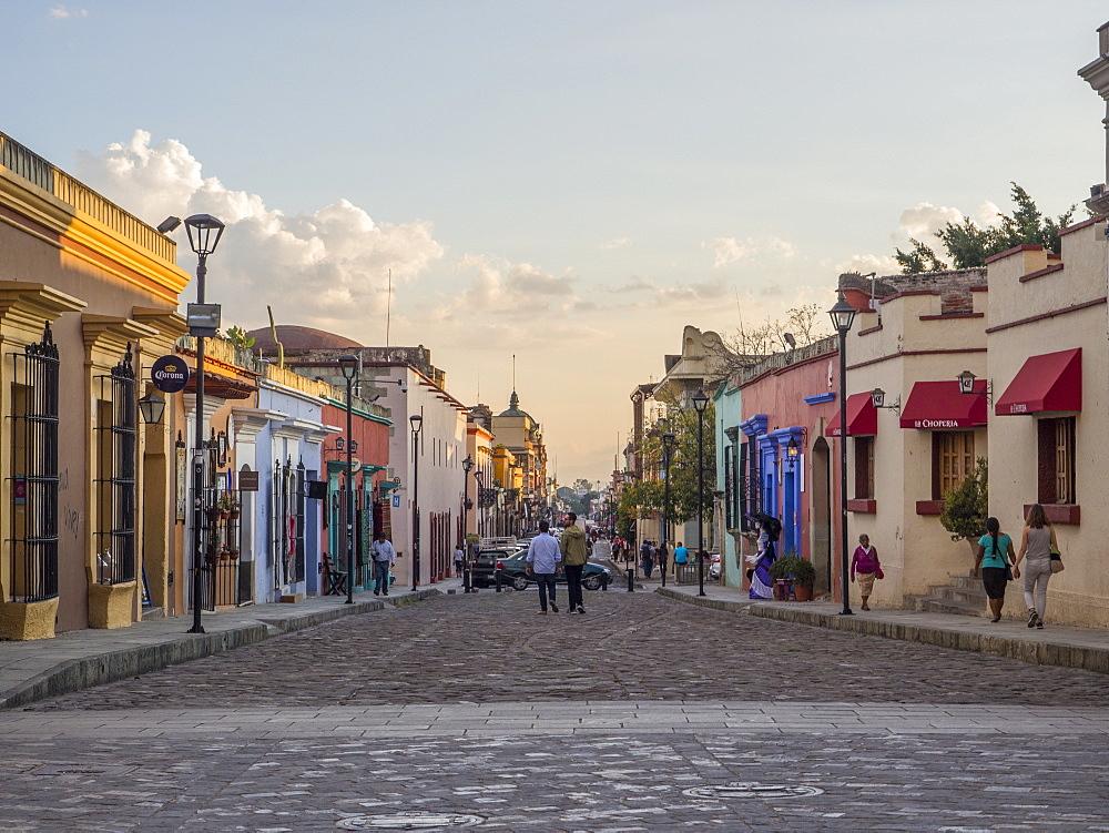 Evening street scene, Oaxaca, Mexico, North America