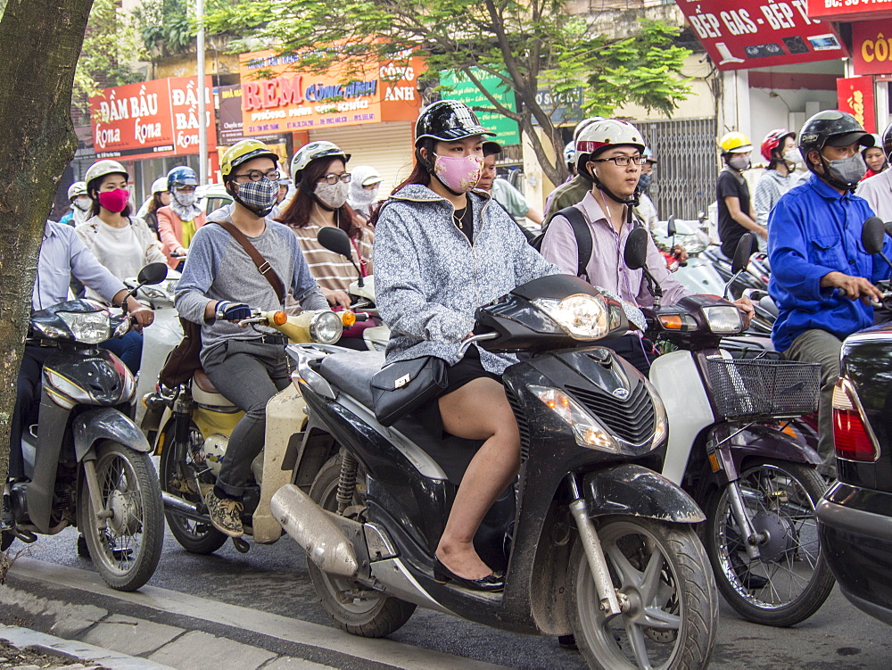Motorbike traffic and facemasks, Hanoi, Vietnam, Indochina, Southeast Asia, Asia - 1242-76