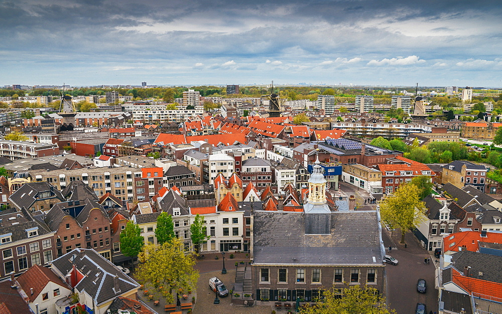 Aerial view of Schiedam, Netherlands, home to the world's tallest windmills (over 30 metres high)