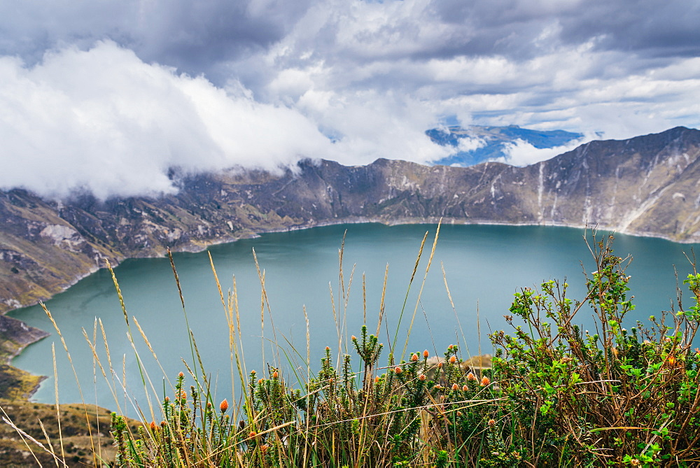 Panorama of Quilotoa, a water-filled caldera and the most western volcano in the Ecuadorian Ande located in Ecuador - 1243-12