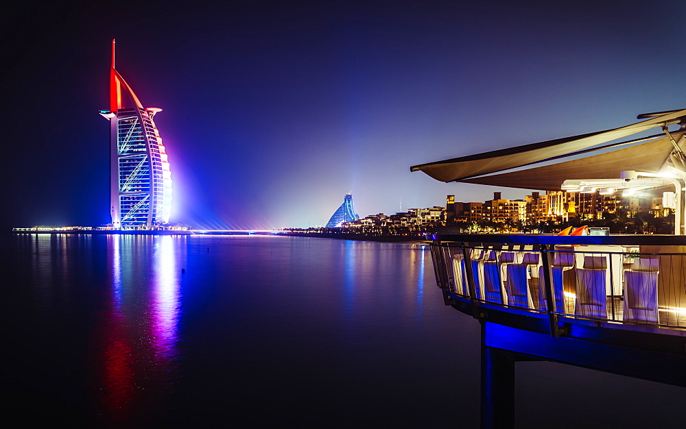 Stock photo of Burj al-Arab at night in Dubai