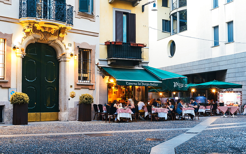 Restaurants in the fashionable district of Brera in Milan, Lombardy, Italy, Europe