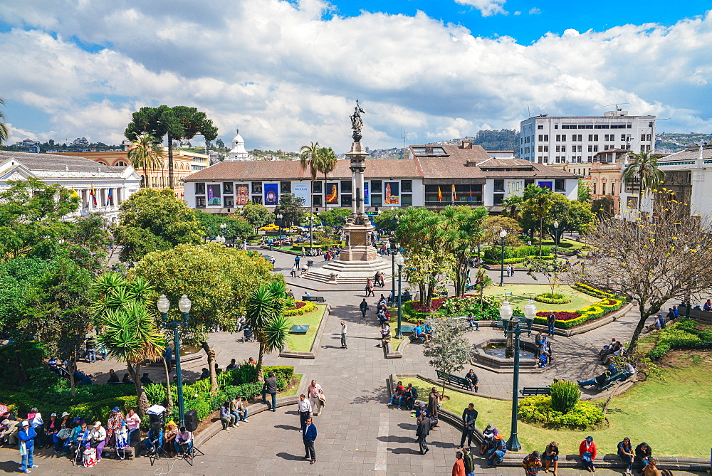 Independence Square, the principal and central public square of Quito, Ecuador, South America
