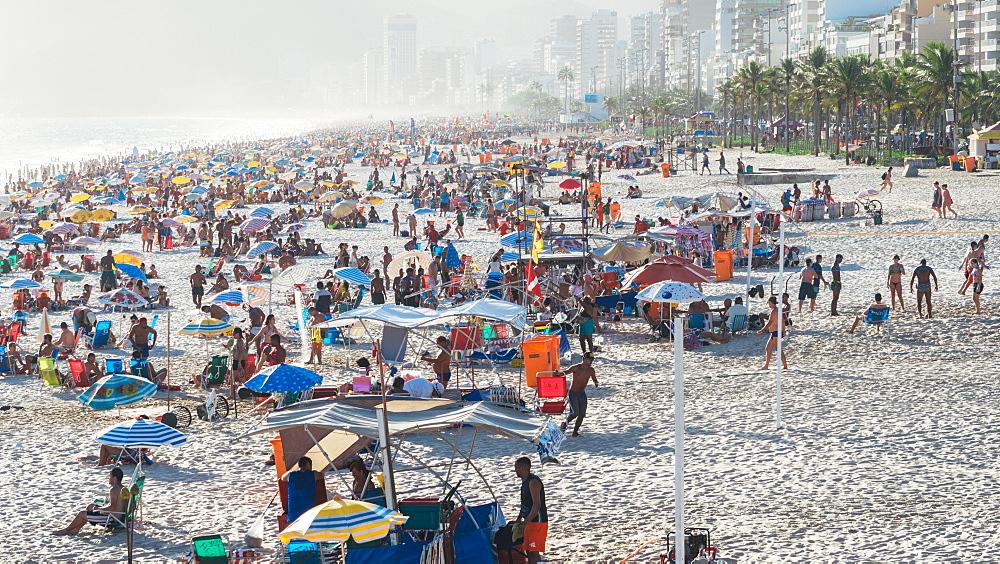 Crowded Ipanema beach in Rio de Janeiro, Brazil, South America - 1243-178