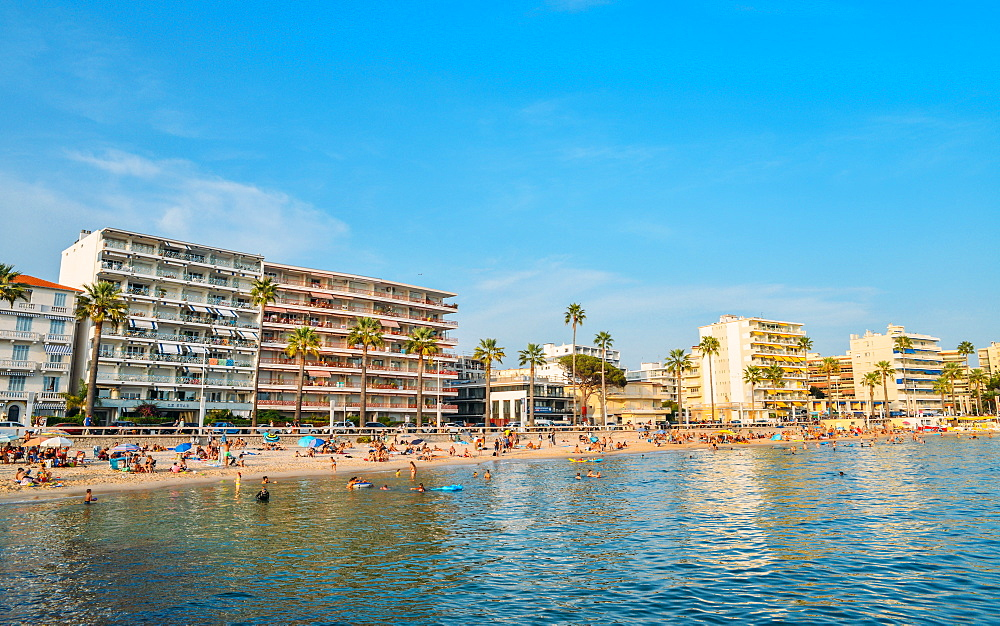 Busy beach in Juan les Pins, Cote d'Azur, France