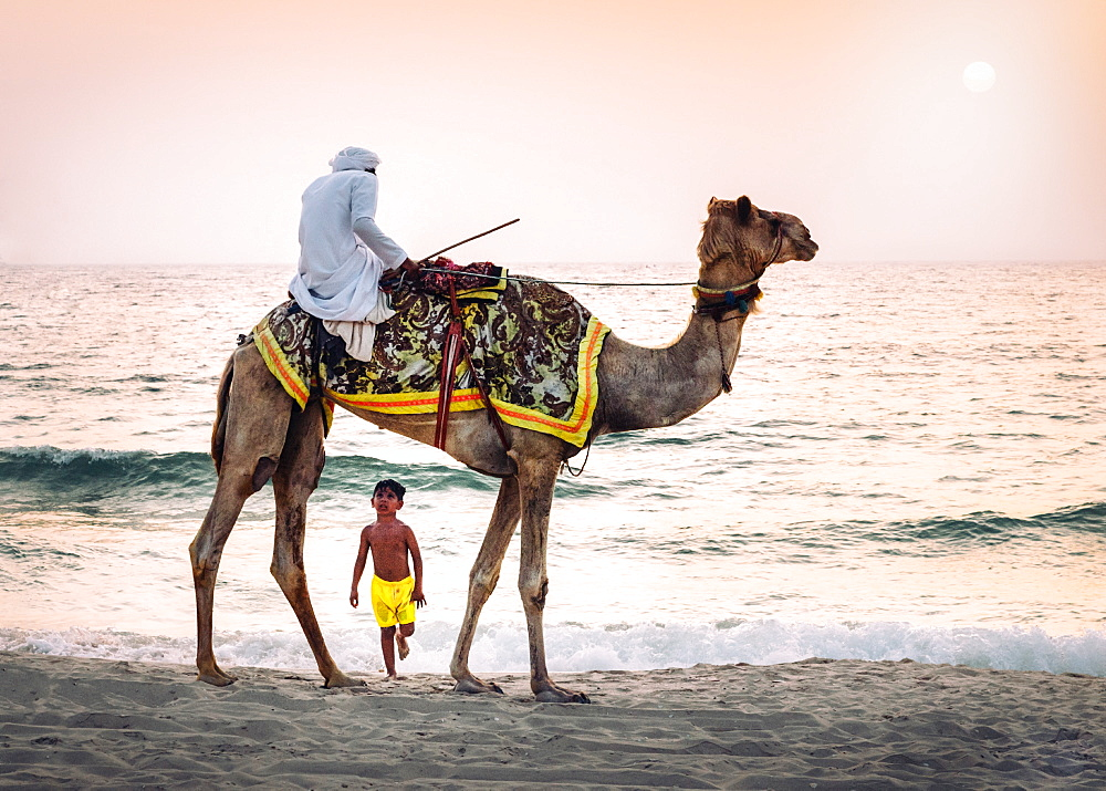 Boy stares in amazement at Arabic man wearing a thawb riding a camel on a beach, Dubai, United Arab Emirates, Middle East