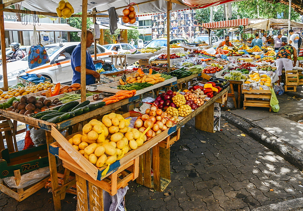 Assortment of various fruits and vegetables in a street market in Rio de Janeiro, Brazil, South America