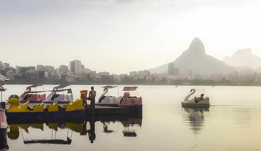 A swan-shaped paddle boat on Lagoa Rodrigo de Freitas in Rio de Janeiro, Brazil, South America - 1243-223