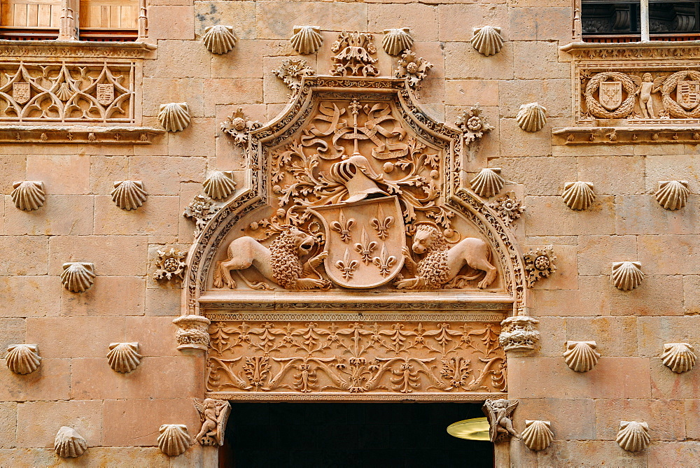 Facade to 16th-century Gothic palace covered in symbolic seashell motifs, now an exhibition space and library, Salamanca, Castilla y Leon, Spain, Europe - 1243-273