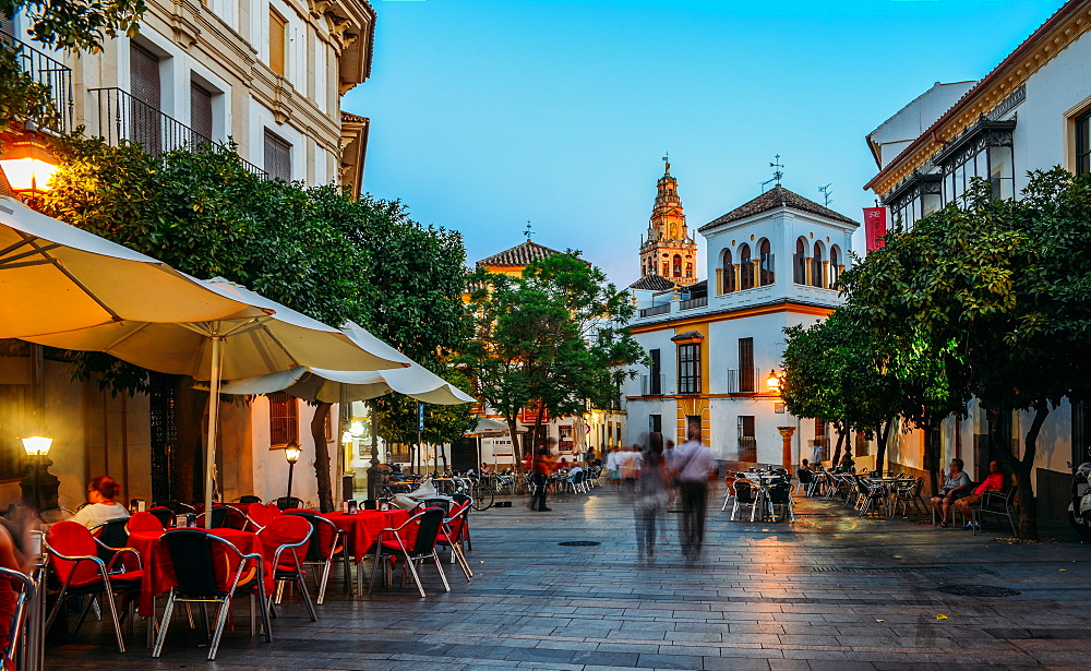 Pedestrian street in the historic centre with the Bell Tower of La Mezquita (Great Mosque) in background, Cordoba, Andalucia, Spain, Europe - 1243-311