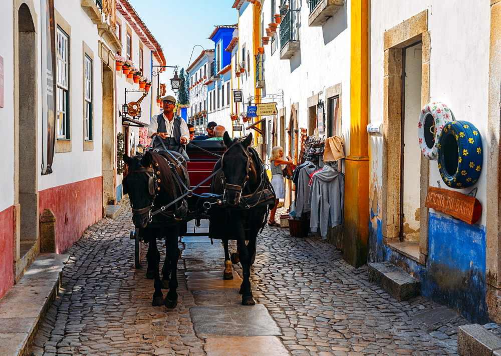 Horse-drawn carriage within the ancient fortified village of Obidos, Oeste Leiria District, Portugal, Europe - 1243-341