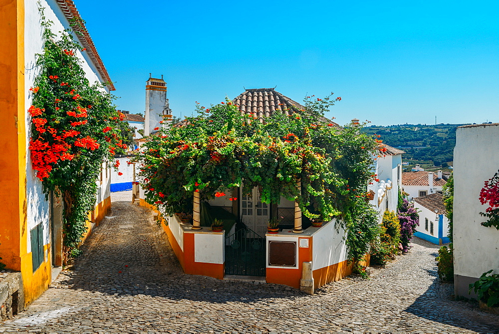 Narrow quaint streets within the ancient fortified village of Obidos, Oeste, Leiria District, Portugal, Europe - 1243-343