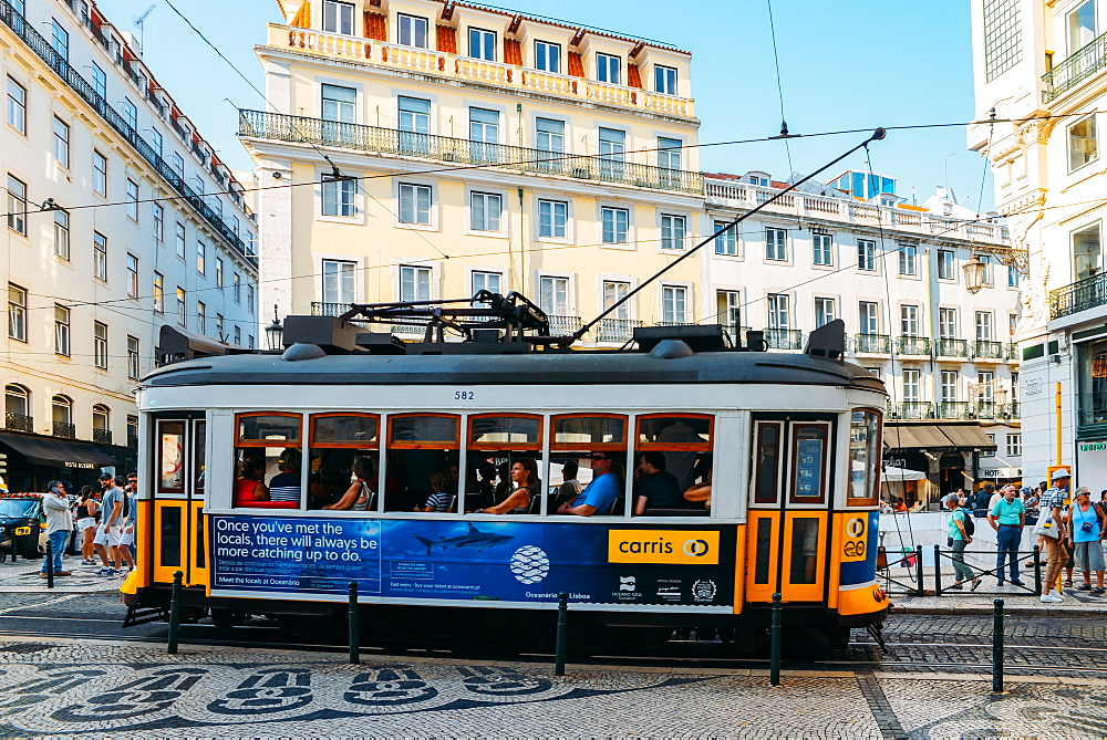 Traditional tram at Chiado neighbourhood in Lisbon, Portugal, Europe - 1243-349