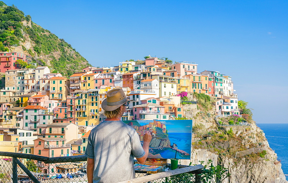 A painter at Manarola, Cinque Terre, Italy - 1243-37