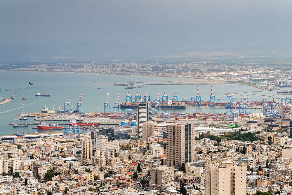 View over the city and port, Haifa, Israel, Middle East - 1243-61
