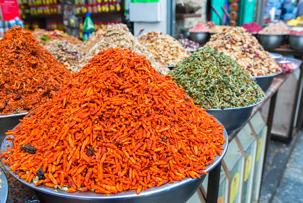 Spices and fruits in a traditional market in Jerusalem, Israel, Middle East