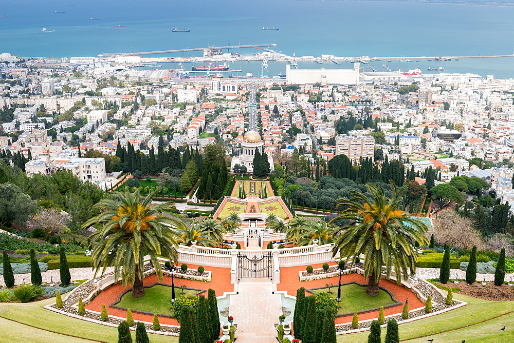 View over the Bahai Gardens, Haifa, Israel, Middle East - 1243-63