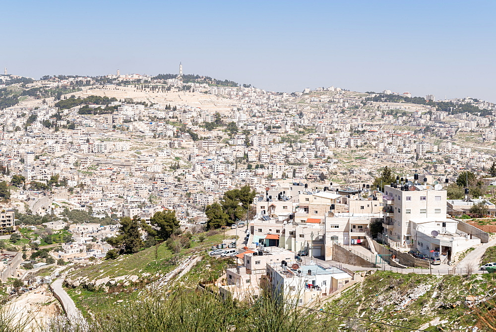 View of outskirts of Jerusalem from the Old City, Jerusalem, Israel, Middle East