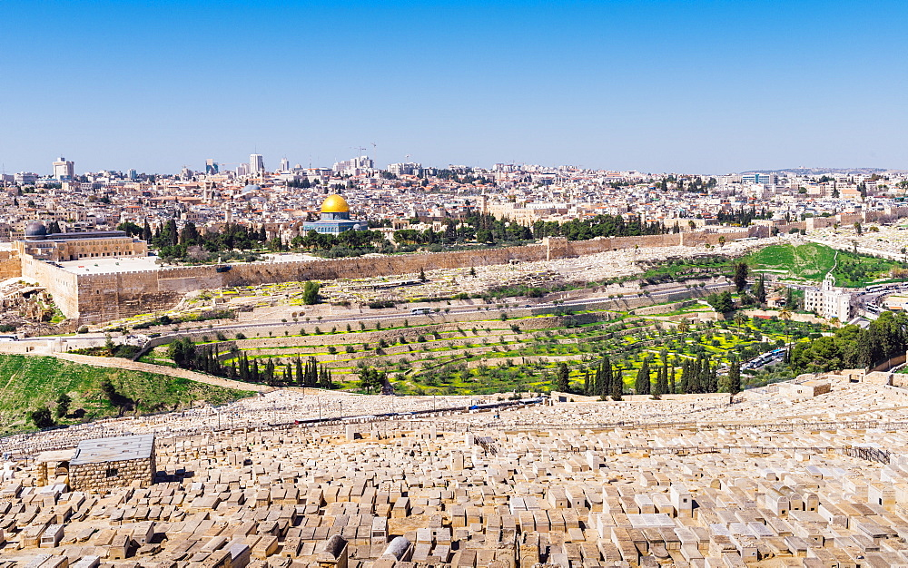 View of Jerusalem and the Dome of the Rock from the Mount of Olives, Jerusalem, Israel, Middle East