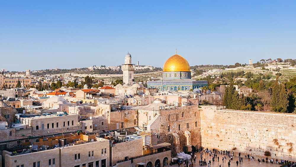 Temple Mount, Dome of the Rock, Redeemer Church and Old Town in Jerusalem, Israel