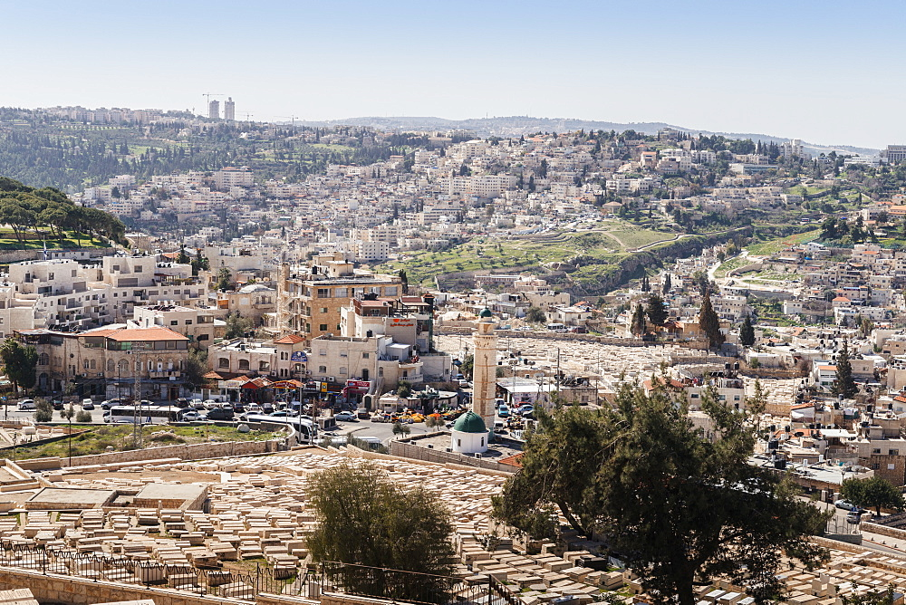 View of a Arab-Israeli neighbourhood, including shops and a mosque, on the outskirts of Jerusalem, Israel - 1243-74
