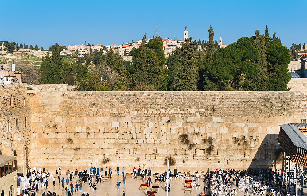 Division between the male section on left and female section on right, of the Wailing (Western) Wall in Jerusalem, Israel, Middle East