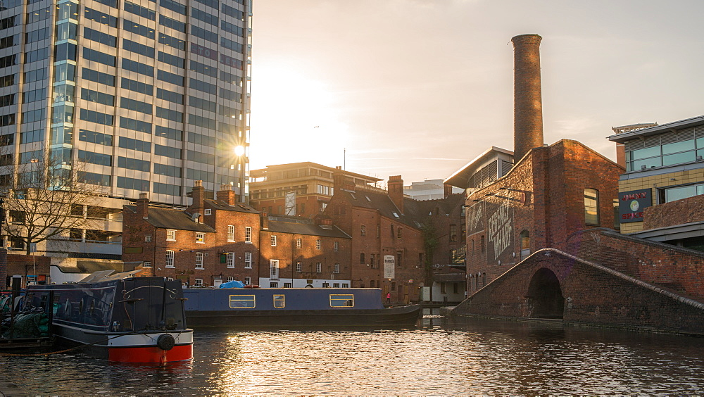 Canal boats on the canal, Gas Street Basin, in the heart of Birmingham, England, United Kingdom, Europe - 1243-90