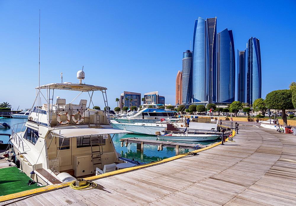 Skyline with Marina and Etihad Towers, Abu Dhabi, United Arab Emirates, Middle East