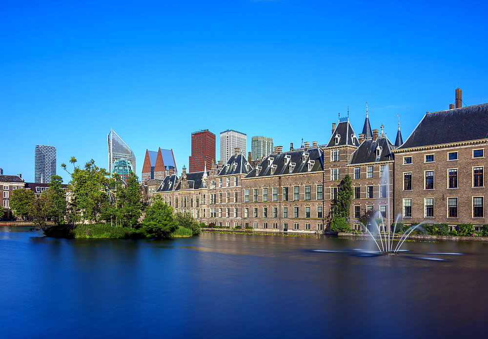 Hofvijver and Binnenhof, The Hague, South Holland, The Netherlands, Europe - 1245-1024