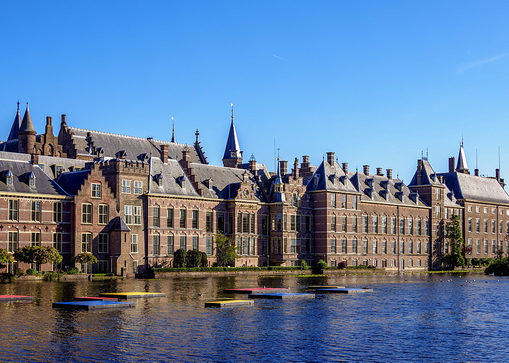 Hofvijver and Binnenhof, The Hague, South Holland, The Netherlands, Europe - 1245-1026