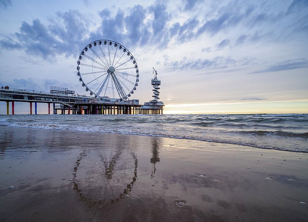 Pier and Ferris Wheel in Scheveningen, The Hague, South Holland, The Netherlands, Europe