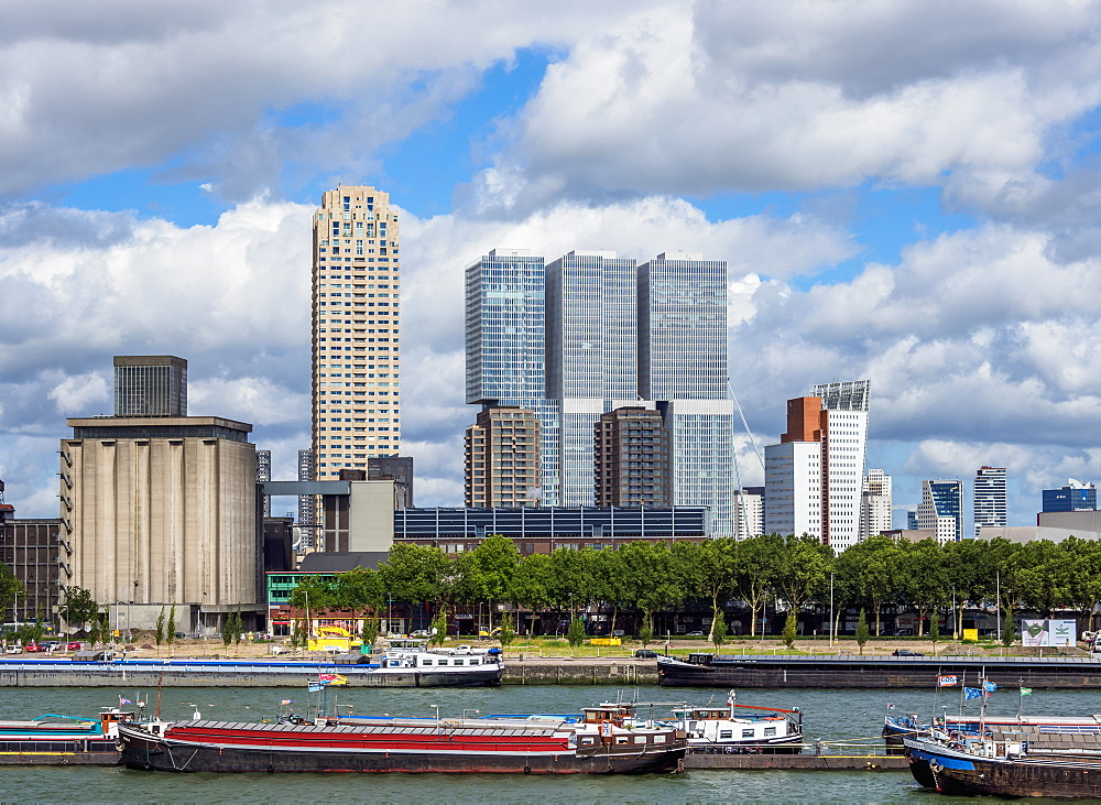 View over Maashaven towards De Rotterdam and KPN Tower buildings, Rotterdam, South Holland, The Netherlands, Europe - 1245-1061