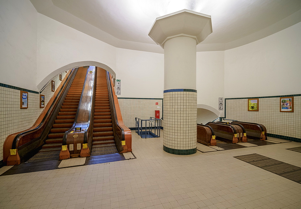 Art Deco Wooden Escalator, Pedestrian Tunnel of St. Anna under the River Scheldt, Antwerp, Belgium, Europe