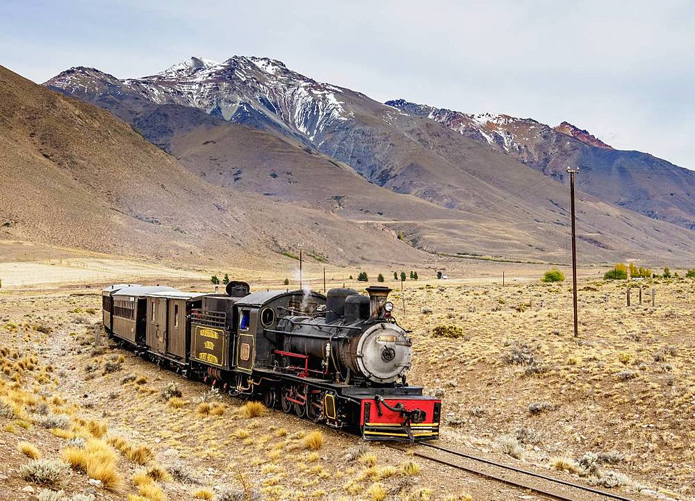 Old Patagonian Express La Trochita, steam train, Chubut Province, Patagonia, Argentina, South America