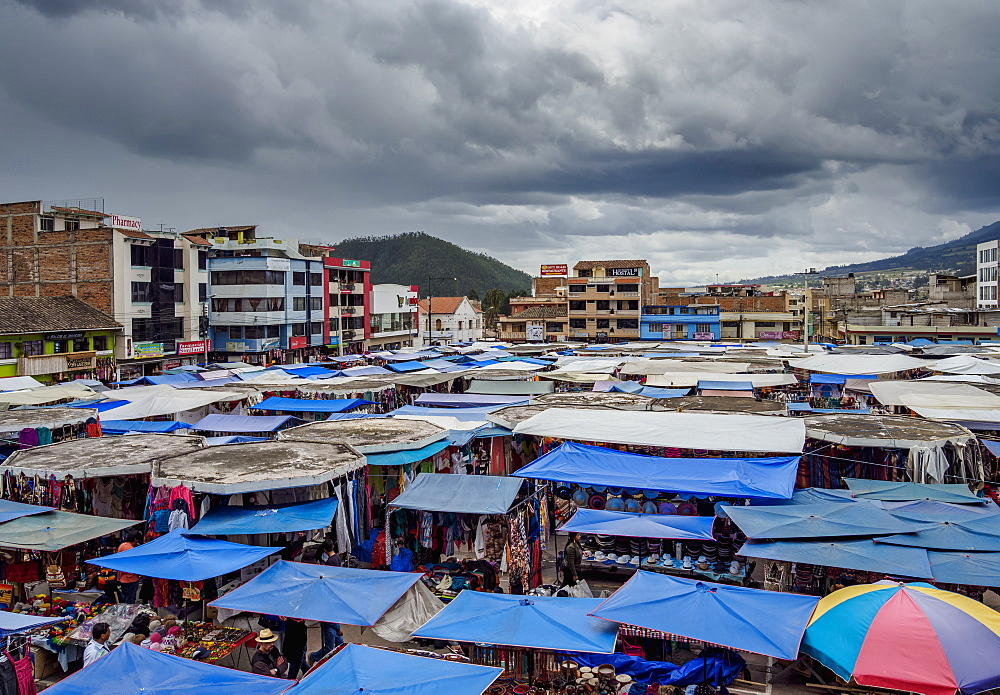 Saturday Handicraft Market, Plaza de los Ponchos, elevated view, Otavalo, Imbabura Province, Ecuador, South America