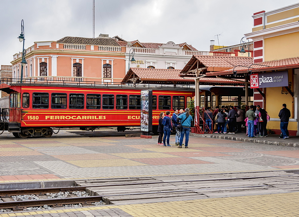 Train at Railway Station in Riobamba, Chimborazo Province, Ecuador, South America