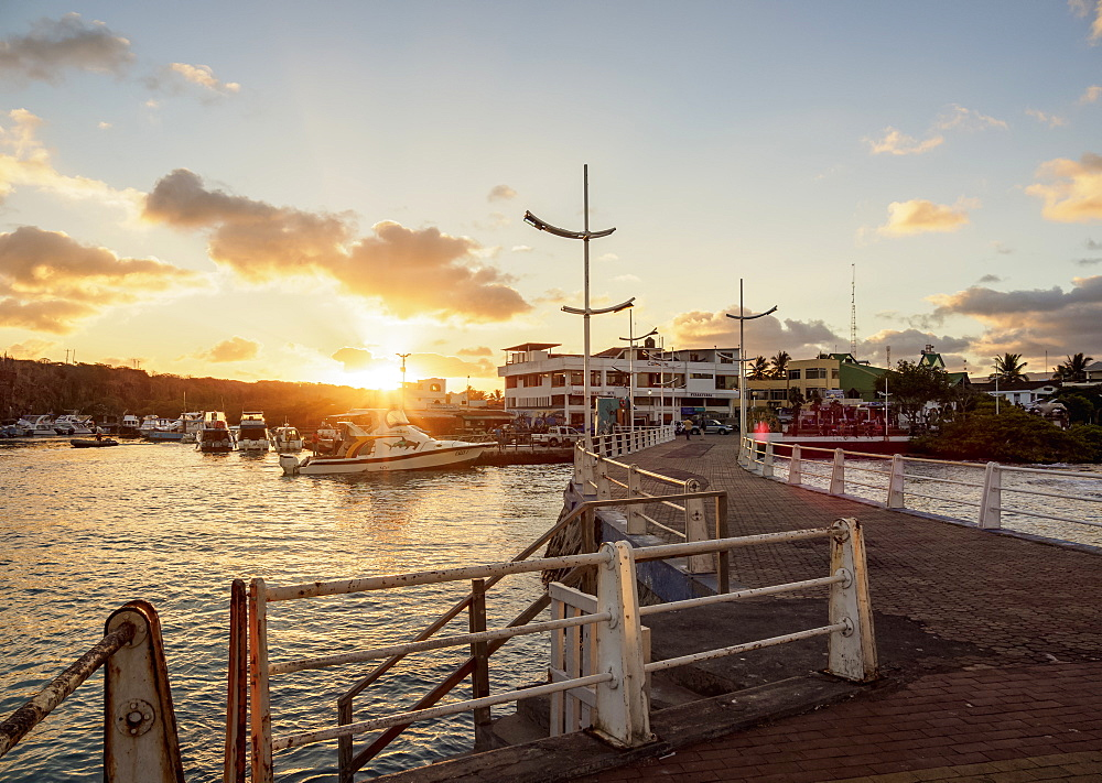 Port in Puerto Ayora at sunset, Santa Cruz (Indefatigable) Island, Galapagos, UNESCO World Heritage Site, Ecuador, South America