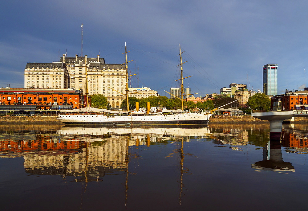 View of Puerto Madero and the museum ship ARA Presidente Sarmiento, City of Buenos Aires, Buenos Aires Province, Argentina, South America