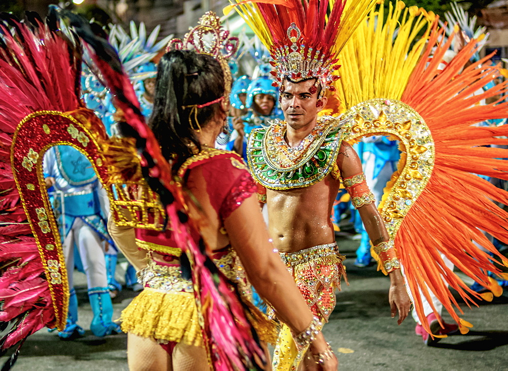 Samba Dancers at the Carnival Parade in Niteroi, State of Rio de Janeiro, Brazil, South America