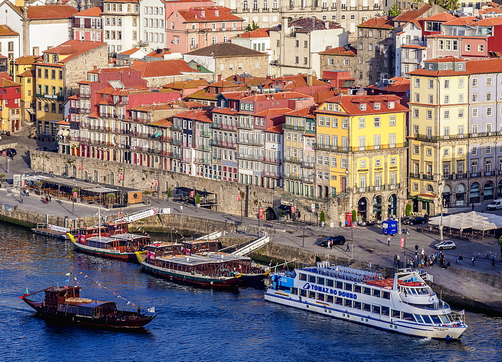 Colourful houses of Ribeira, elevated view, UNESCO World Heritage Site, Porto, Portugal, Europe
