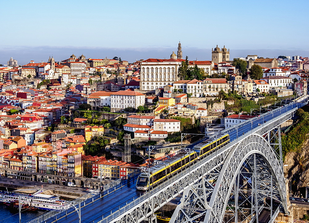 Dom Luis I Bridge, elevated view, UNESCO World Heritage Site, Porto, Portugal, Europe