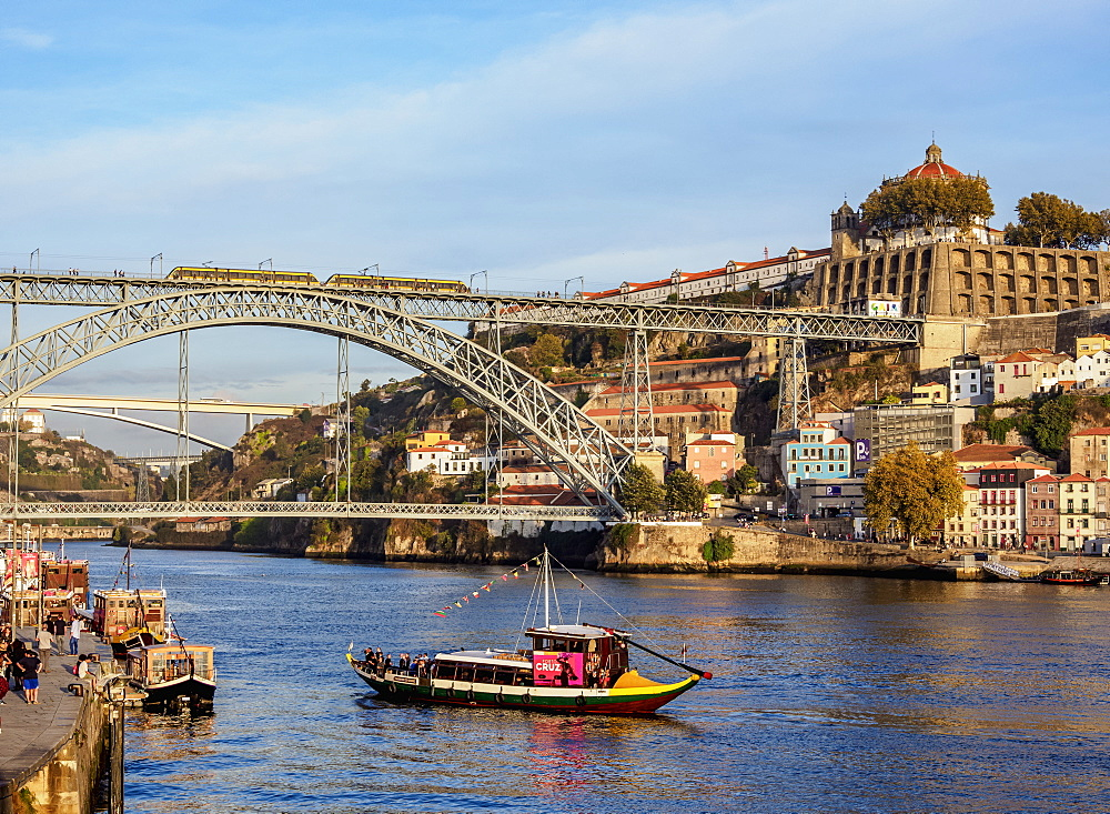 View towards Vila Nova de Gaia, Dom Luis I Bridge and Monastery of Serra do Pilar, UNESCO World Heritage Site, Porto, Portugal, Europe