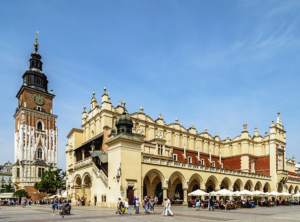 Cloth Hall and Town Hall Tower, Market Square, Cracow, Lesser Poland Voivodeship, Poland